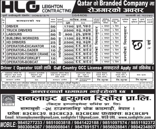 Free Visa, Free Ticket, Jobs For Nepali In Qatar  Salary - Rs.88,000/
