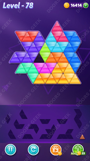 Block! Triangle Puzzle 12 Mania Level 78 Solution, Cheats, Walkthrough for Android, iPhone, iPad and iPod