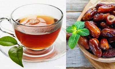 teh hangat dan buah kurma