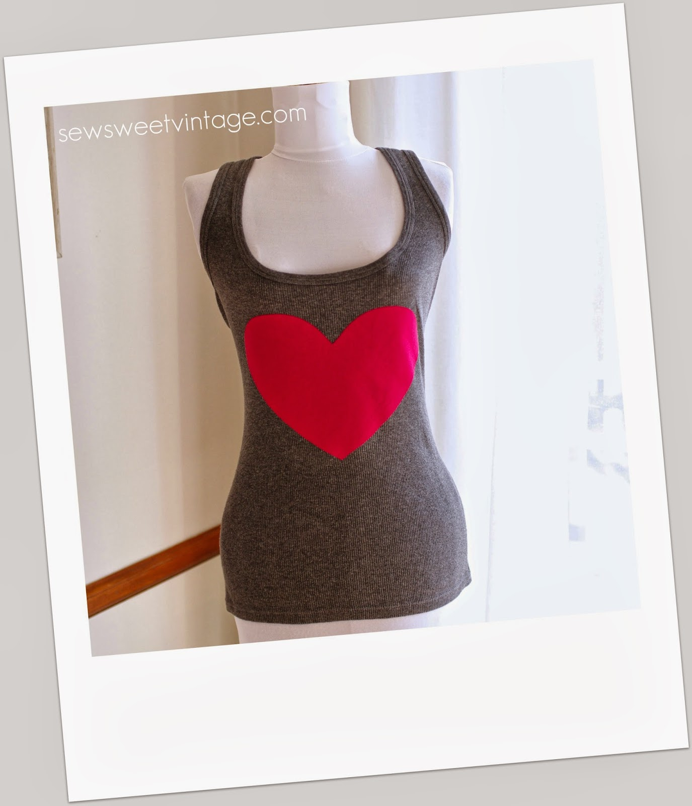 How to make a heart tank top refashion for Valentine's Day by sewsweetvintage.com