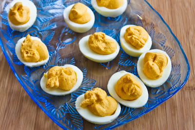 Sriracha Deviled Eggs Recipe plus Ten More Interesting Ideas for Deviled Eggs found on KalynsKitchen.com