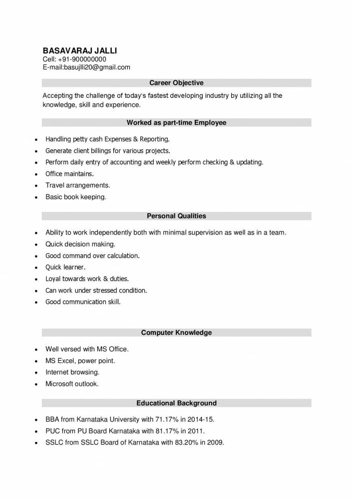 Latest Resume Format for BBA Freshers - Download - Resume Samples ...