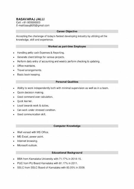 Resume Format For Bba Freshers Letter Kairostools