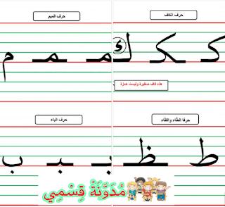 كيفية كتابة الحروف وفق مقاساتها