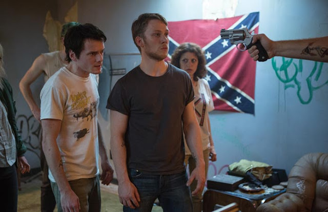 "Anton Yelchin, Joe Cole, and Alia Shawkat, trapped in ""Green Room"""