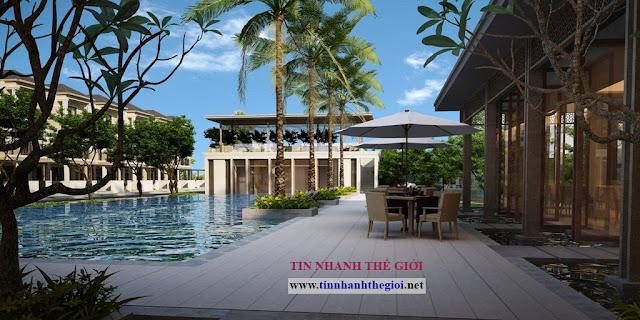 Hồ bơi dự án biệt thự Nine South Estates