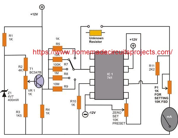 Ohmmeter Circuit using IC 741