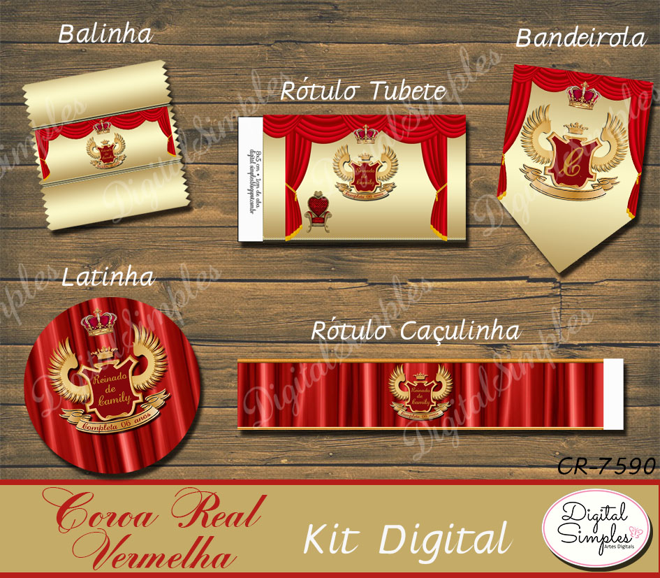 Kit Digital Coroa Real em Vermelho.....artesdigitalsimples@gmail.com