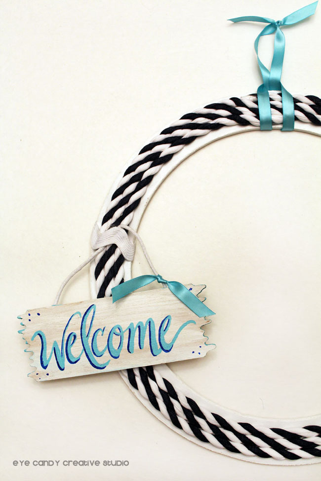summer wreath, welcome, hand lettered, home decor, nautical decor