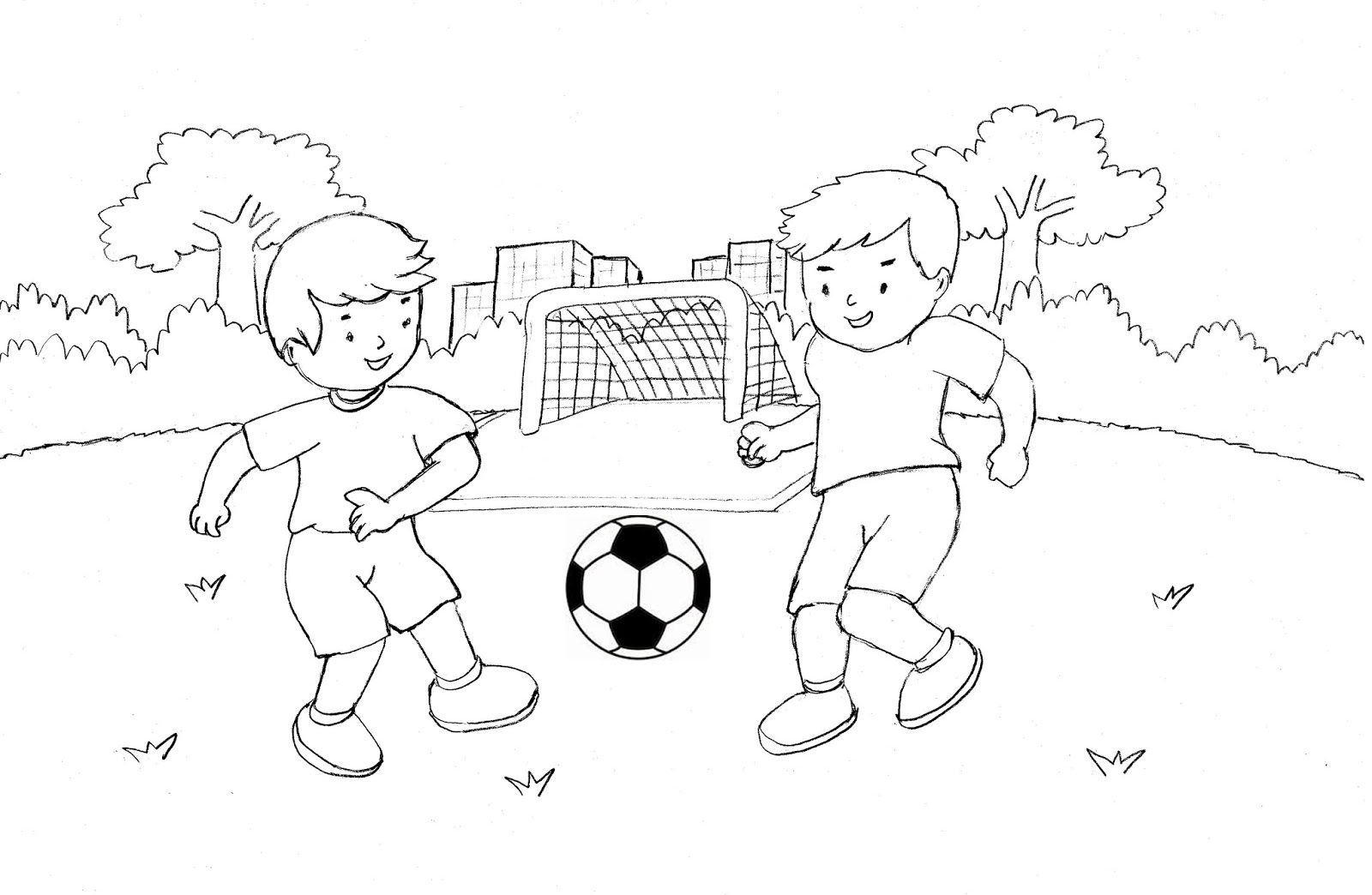 Mewarnai Gambar Anak Main Sepak Bola
