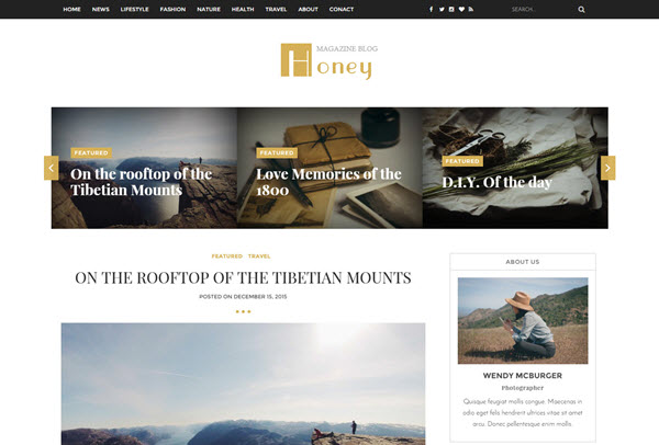 Honey A Responsive Blogger Templates