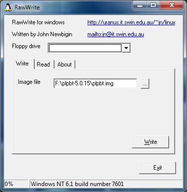 RawWrite, Creare un floppy disk per l'avvio di Plop Boot Manager