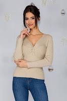 Bluza Rachel bej tricotata cu impletitura