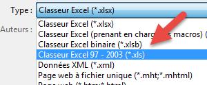 Enregistrer Classeur excel sous xls