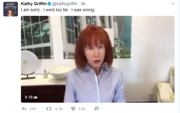 US comedian Kathy Griffin apologises for 'beheaded Trump' photo