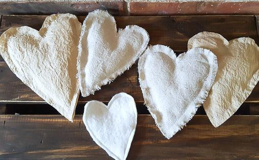 fabric scrap hearts