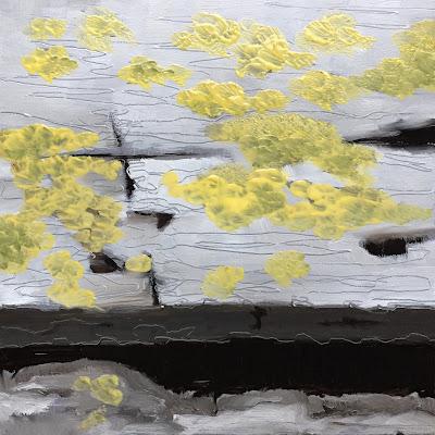 """""""Beautiful decay - Lichen"""", oil on panel 15x15 cm by Philine van der Vegte"""