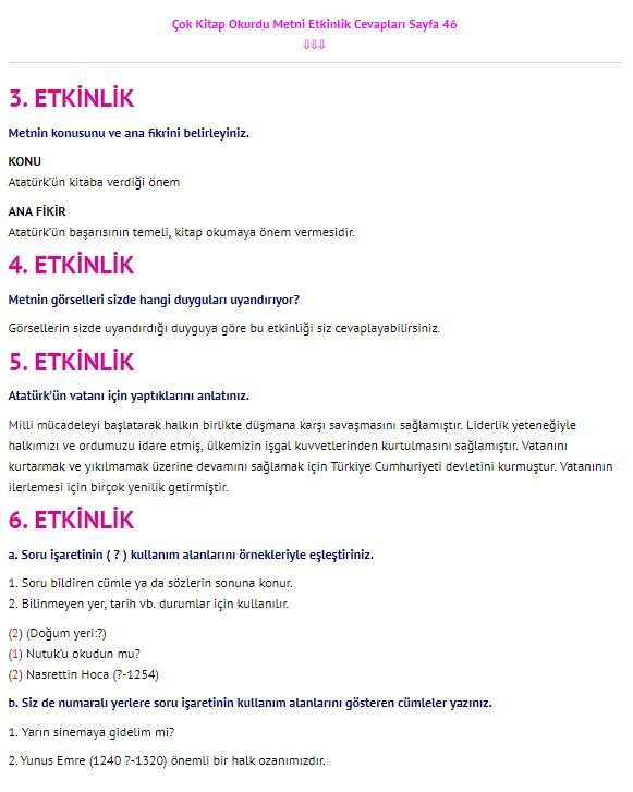 Çok Kitap Okurdu Metni Cevapları 4. Sınıf Türkçe Sayfa 46