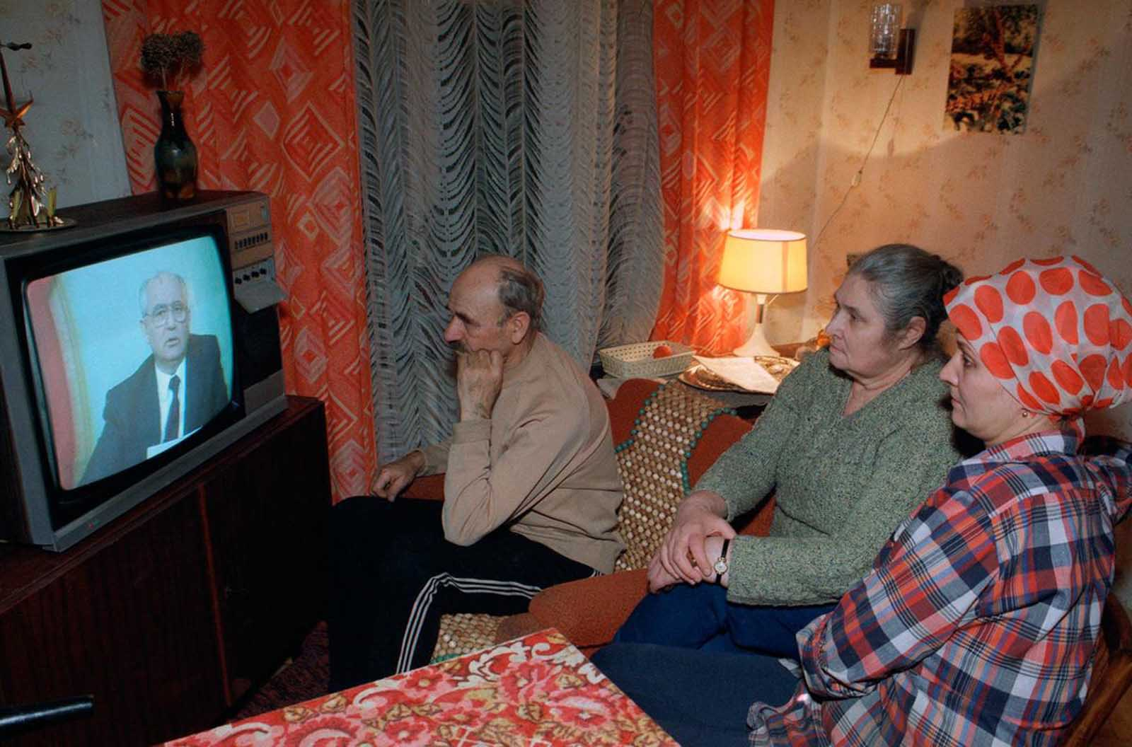 The Musichick family watches Soviet President Mikhail Gorbachev's resignation speech on Soviet television in their downtown Moscow apartment, on December 25, 1991. Gorbachev, whose reforms gave Soviet citizens freedom but ultimately led to the destruction of his nation resigned on as President of a Communist empire that no longer exists.