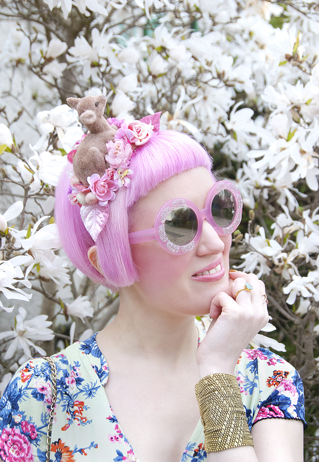 round flower sunglasses, dear fascinator, jazzafine headwear