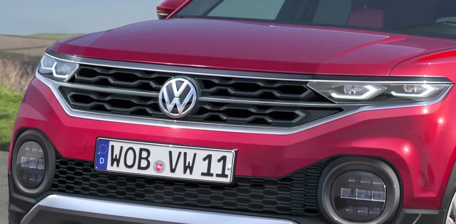foto dettaglio volkswagen t-cross griglia frontale calandra colore rosso