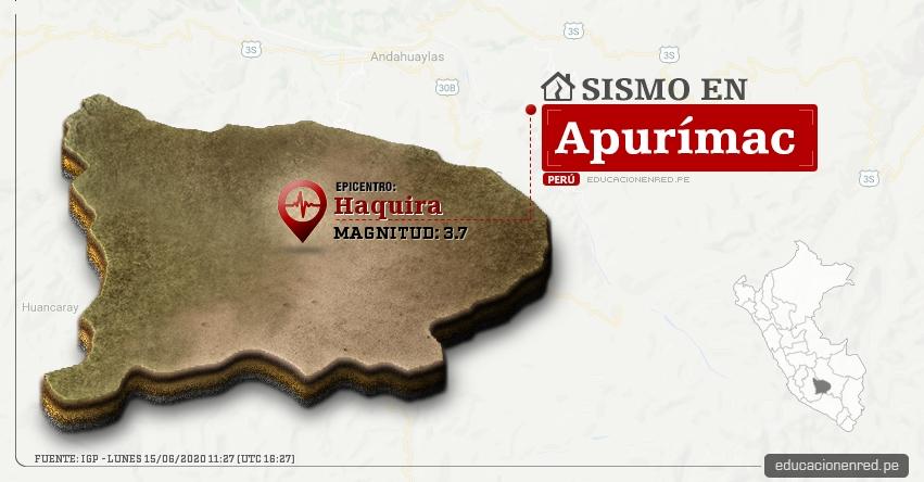 Temblor en Apurímac de Magnitud 3.7 (Hoy Lunes 15 Junio 2020) Sismo - Epicentro - Haquira - Cotabambas - IGP - www.igp.gob.pe