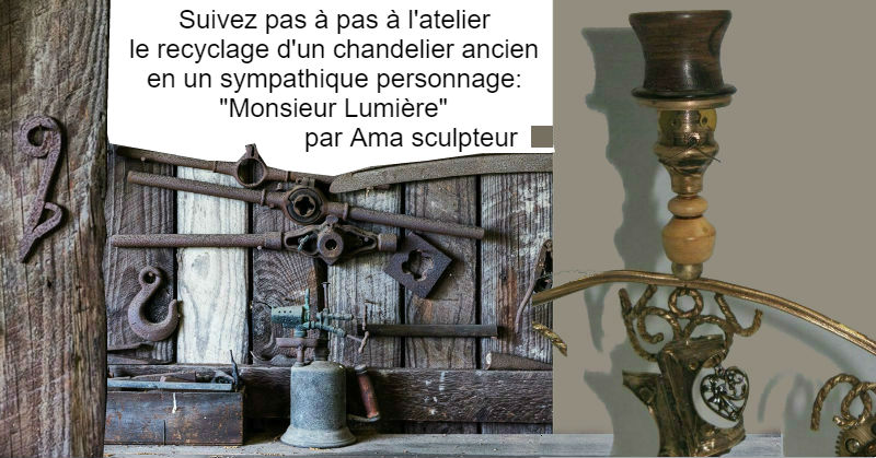 Monsieur Lumière - recyclage de chandelier par Ama
