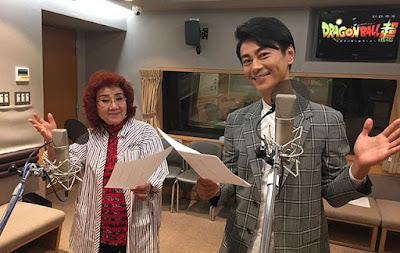 Kiyoshi Hikawa junto a Masako Nozawa, voz de Goku.