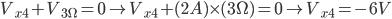 V_ {x4} + V_ {3 \ Omega} = 0 \ à V_ {x4} + (2A) \ times (3 \ Omega) = 0 \ à V_ {x4} = - 6V
