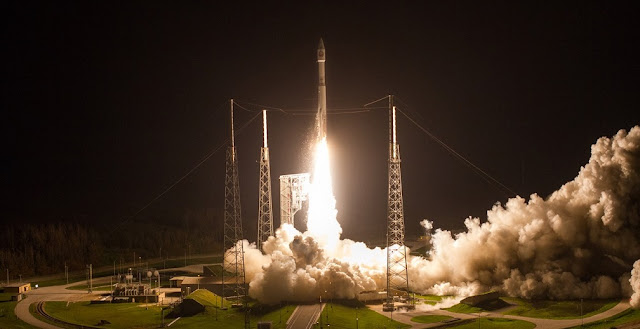 An Atlas V rocket lifts off from Space Launch Complex-41 with the National Reconnaissance Office's NROL-52 payload. Credit: United Launch Alliance/Jeff Spotts
