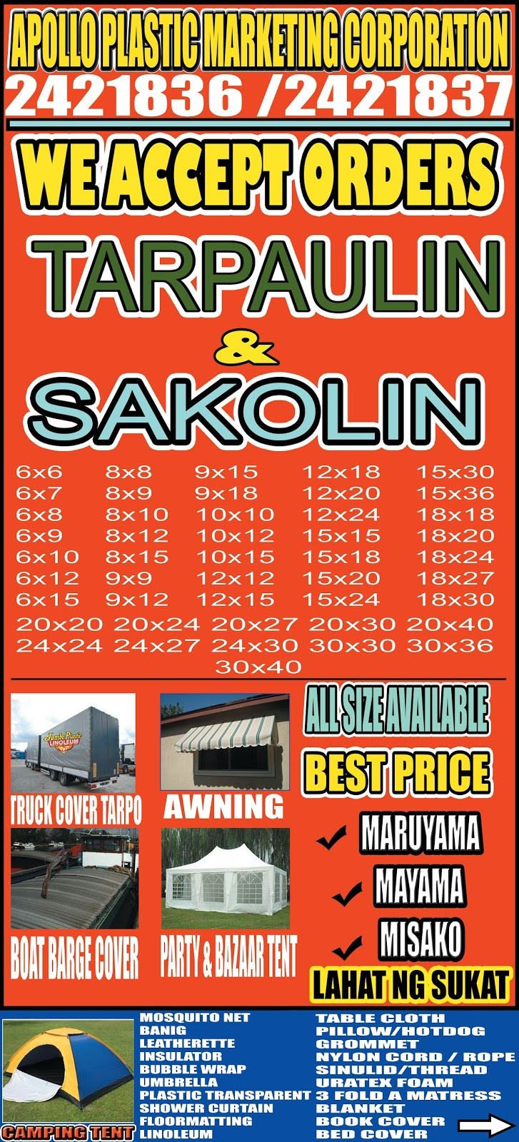 apollo plastic marketing corporation sakolin and tarpaulin ready made and custom size party tent and camping tent