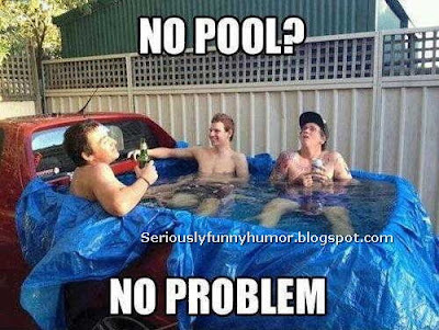 No pool? No problem? Funny pool at the back of a pick up truck LOL