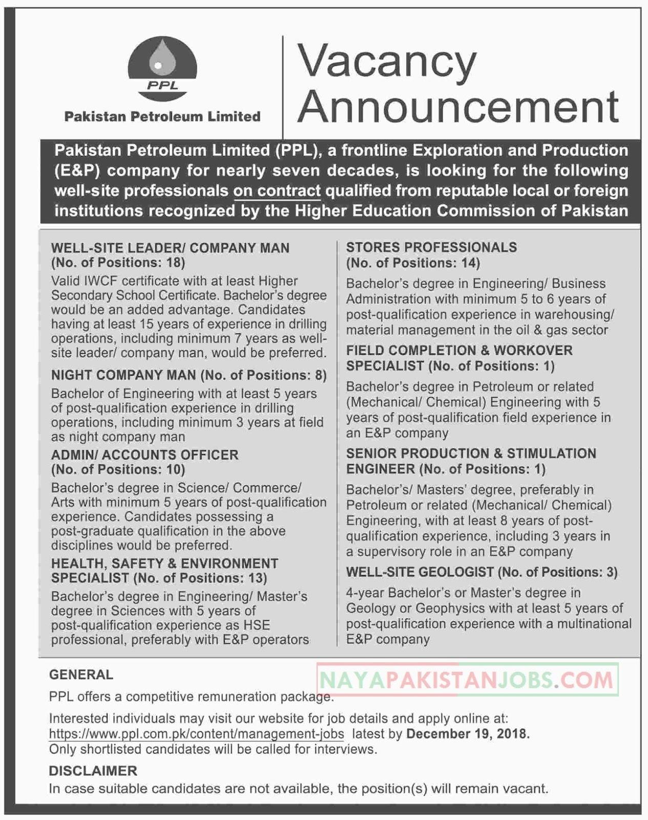 Pakistan Petroleum Limited PPL Jobs Dec 2018, oil and gas jobs, ppl.com.pk jobs