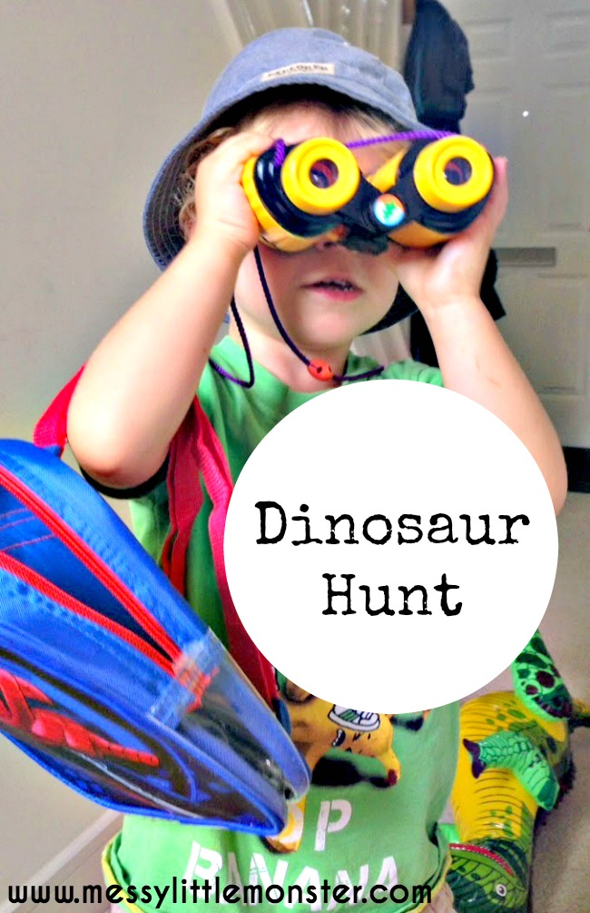Dinosaur hunt.  A simple activity for toddlers and preschoolers using a dinosaur theme.