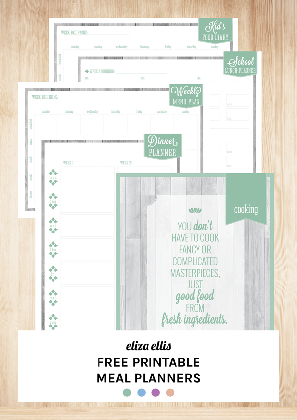 Free Printable Meal Planners by Eliza Ellis