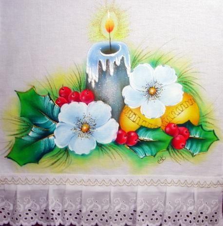 pintura em tecido motivo natalino velas e bolas