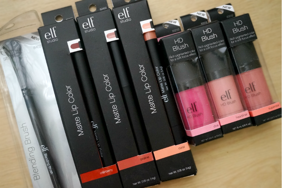 e.l.f. Cosmetics Studio Matte Lip Color, HD Blush, and Blending Brush