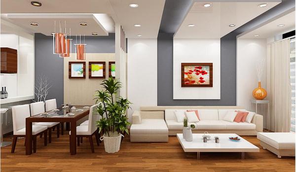 Trang trí trần phòng khách đẹp sử dụng trần thạch cao