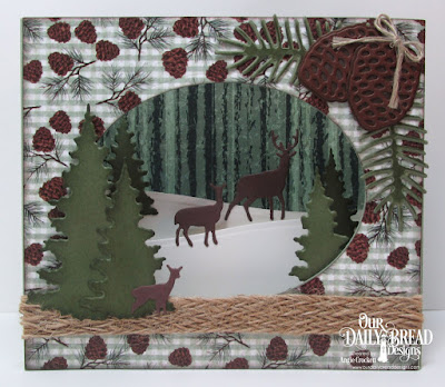 Our Daily Bread Designs Custom Dies: Trees and Deer, Curvy Slopes, Pinecones, Pine Branches, Ovals, Paper Collection: Christmas 2017