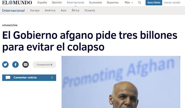 Captura de pantalla con el mismo titular: El gobierno afgano pide tres billones para evitar el colapso
