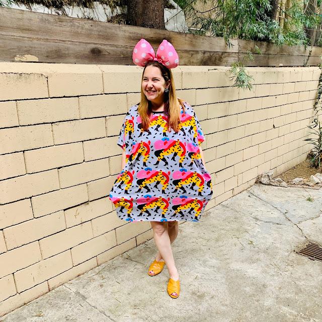 Disney, Disney fashion, #DisneyStyle, #MinnieStyle, Minnie ears, #EarsOutsidetheParks, fashion challenge, Disney fashion challenge, Nooworks printed dress, Also peep-toe flats, Minnie bow ears, Femme de Bloom heart earrings, polka dots, mixed prints