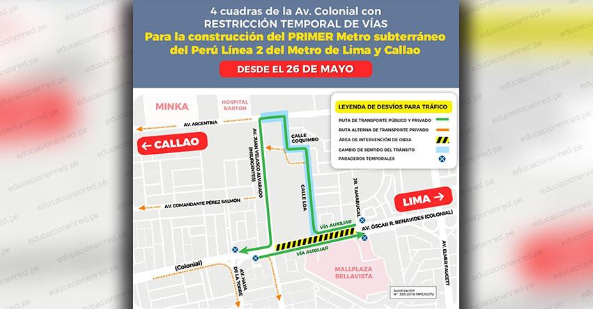 ATENCIÓN: Cerrarán Av. Colonial en el Callao por obras del primer metro subterráneo del Perú. Conoce el plan de desvíos