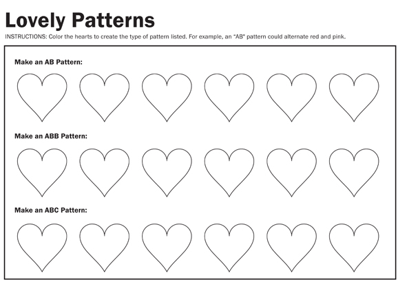 creative cents preschool Valentine week – Patterns Worksheets Kindergarten