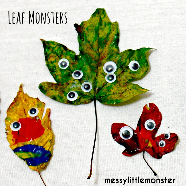 Autumn leaf craft idea for kids- Finger painted leaf monster