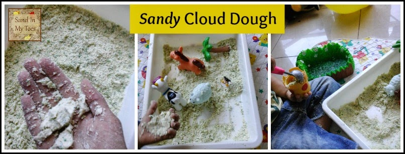 Playing with sandy texture cloud dough