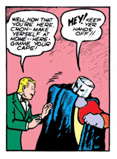 All-Star Comics (1940) #3 Page 31 Panel 5: The Red Tornado is reluctant to join the JSA for lunch.