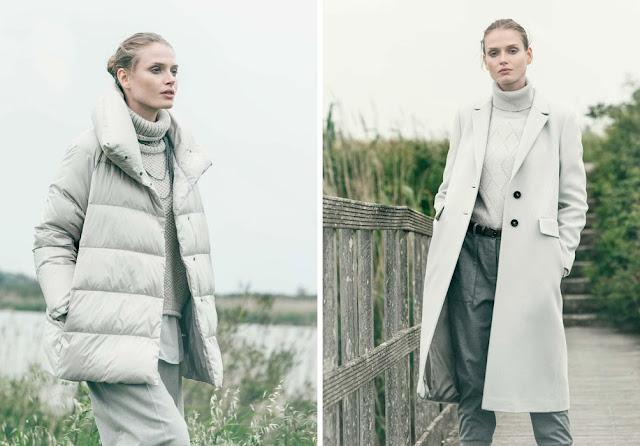 Монохромные образы с белым пуховиком и белым пальто