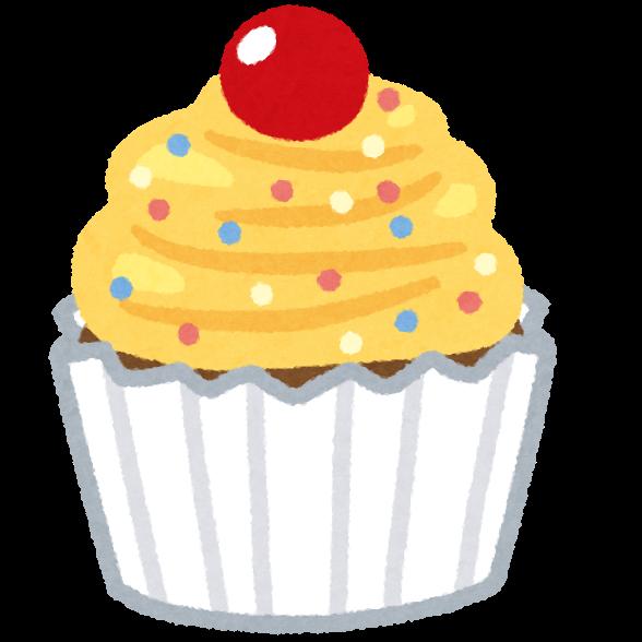 カラフルなカップケーキのイラスト(バラバラ) | かわいいフリー素材集 ...