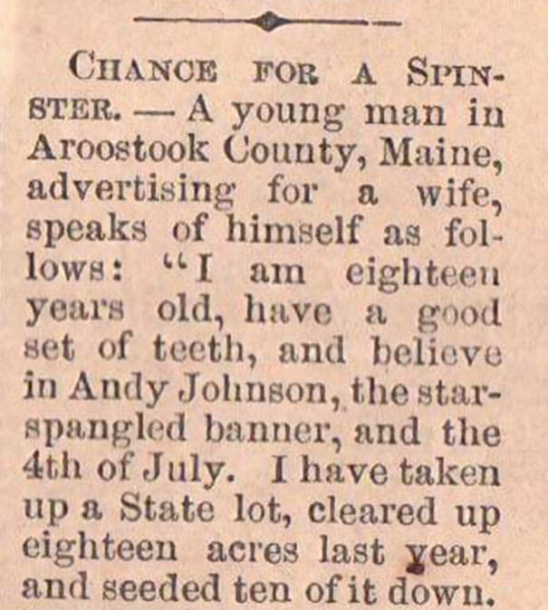 Young Man Is Searching For A Wife In 1865 In The Most Adorable Way