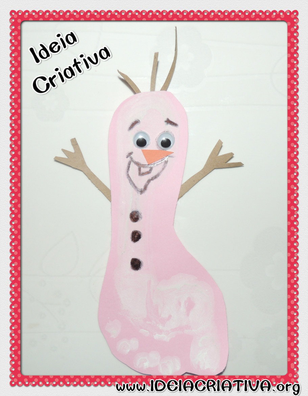 Atividade Frozen Boneco de Neve Olaf Carimbo de Pés Projeto Natal